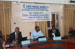 Mamadou Moctar Baldé (Unicef), André Zogo (CANEA)  et Richard Oussou (DNSP) à l'ouverture des échanges